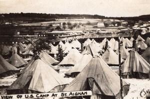 Loir et Cher View of US Camp at Saint-Aignan WWI old Photo 1914-1918