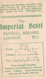 London Imperial Hotel Guest card Services & Meal Times 1910's