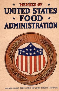 1917 United States Food Administration Window Card Sign WW1