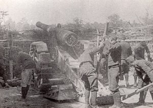 Soldats et Canon de 220 WWI Ancienne Photo 1914-1918