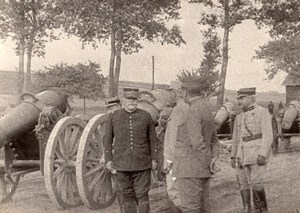 General Joffre visite un Parc d'Artillerie sur la Somme WWI Ancienne Photo 1914-1918