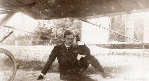 Italy Milan Leon Delagrange & his Airplane Aviation old Photo 1908