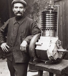 Aviation Inventor Leonce Bertin Portrait & Engine old Meurisse Photo 1910
