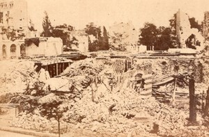 La Commune de Paris Gare d'Auteuil Ruines Ancienne Photo Loubere 1871