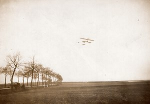 Chevilly Aviation Paulhan on Farman Biplane Distance Record old Rapid Photo 1910