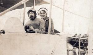 France Aviation Pilot & Woman Passenger Biplane old RPPC Photo 1910's
