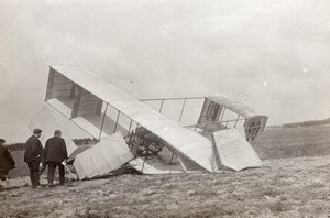 Reims Airshow Louis Paulhan Accident Voisin Biplane old Branger Photo 1909