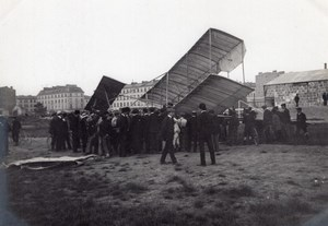 France Aviation Sommer or Farman Biplane Accident old Photo 1910