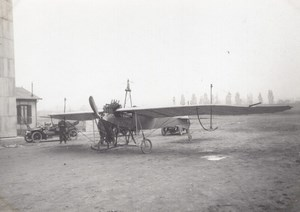 France Aviation Unidentified Monoplane Curved wings old Photo circa 1910