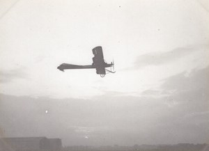 France Aviation Biplane in Flight old Photo circa 1910