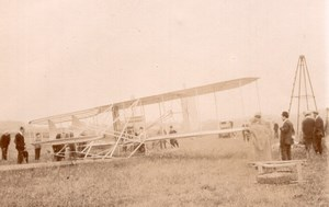 France Juvisy Aviation Comte de Lambert Wright Biplane old Photo 1909