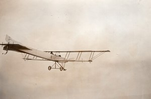 France Aviation Zodiac Biplane in Flight old Rol Photo 1911