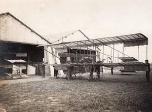 France Buc Aviation Farman Biplane outside Hangar old Rol Photo 1910