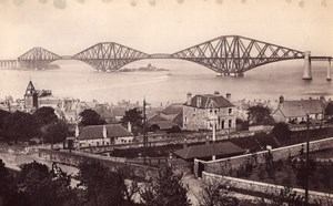 Scotland Forth Bridge from above Queensferry old James Valentine Photo 1880