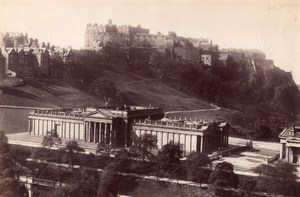 Ecosse Edimbourg Chateau et National Gallery Ancienne Photo James Valentine 1880