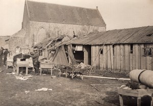 France WWI Bombed Army Camp North of France? Old Photo 1917
