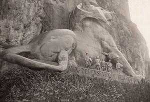 France WWI Lion de Belfort Bartholdi Sculpture Ancienne Photo Novembre 1918