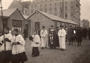 France WWI Religious Procession Hotel? Ocean old Photo 1914-1918