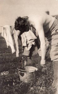 France WWI Soldier Body Washing Bucket & Sponge old RPPC Photo 1914-1918