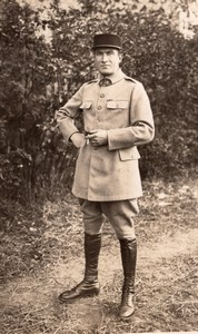 France WWI Portrait Soldier in Uniform Smoking old Photo 1914-1918