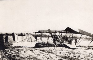France WWI Military Aviation Accident Maurice Farman XXXVII old Photo 1914-1918