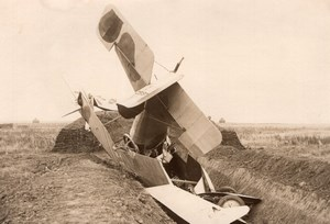 France WWI Military Aviation Breguet? Biplane Crash old Photo 1914-1918