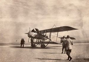 France WWI Military Aviation Voisin or Farman Pusher Biplane old Photo 1914-1918