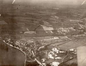 Nord de la France? WWI Ville et Forteresse Vue Aerienne Ancienne Photo 1918
