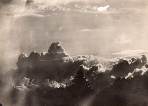 France WWI Aerial? View Low Altitude Clouds Trees old Photo 1914-1918