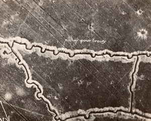 France WWI Front Aerial View of Trenches Snipers old Photo 1914-1918