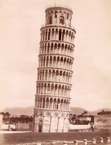 Italy Pisa Campanile Leaning Tower old Photo 1880