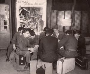 France Paris Soldiers at Gare de l'Est Rail Workers Strike old Photo 1947