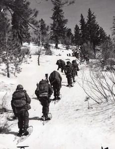 Camp Pendleton US Marines Winter Training Snowshoe Hiking old Photo 1959