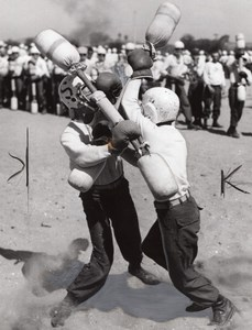 US Marine Corps Pugil Sticks Fight Military Training 2 old Photos 1966