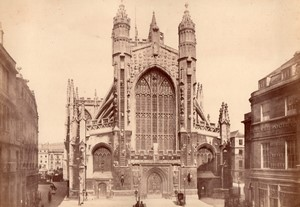 Bath Abbey Western Front & Interior Nave 2 old Photos 1890
