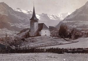 Switzerland Frutigen Church & Doldenhorn old Wehrli Photo 1890
