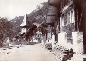 Switzerland Meiringen Village Church & Treib Tavern 2 old Photos 1890