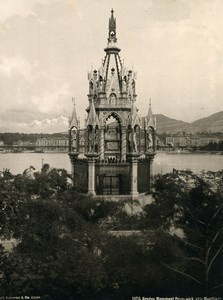 Switzerland Geneva Monument Brunswick & Mont Blanc old Photo Schroeder 1890
