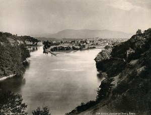 Switzerland Geneva Junction River Arve & Rhone Old Photo Schroeder 1890