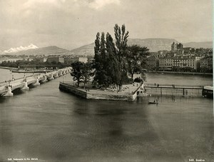 Switzerland Geneva Panarama Ile Rousseau Old Photo Schroeder 1890