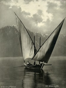 Switzerland Sailing Boat Sailboat Voilier Old Photo Schroeder 1890