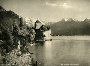 Switzerland Chillon & Dent du Midi Mountains Alps Old Photo Schroeder 1890