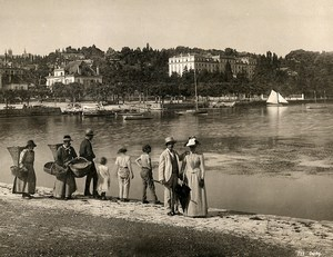 Switzerland Ouchy Panorama Fisherwomen & Tourists Old Photo Schroeder 1890
