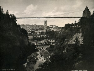 Switzerland Friburg Pont du Gotteron Suspension Bridge Old Photo Schroeder 1890