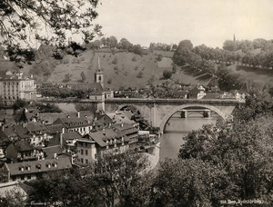 Switzerland Bern Panorama Bridge Nydeggbrücke Old Photo Schroeder 1890