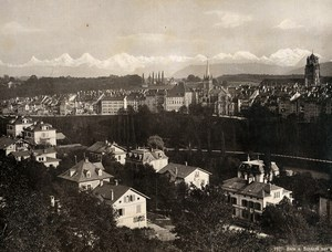 Switzerland Bern Panorama from the Schanzli Old Photo Schroeder 1890