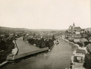 Switzerland Thun panorama River Covered Bridge Old Photo 1890