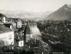 Switzerland Thun Panorama & Alps Mountains Old Photo Schroeder 1890