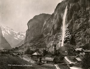 Switzerland Lauterbrunnen Staubbach Falls Bernese Alps Old Photo Schroeder 1890