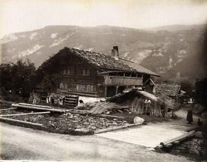 Switzerland Meiringen Bauernhaus Bernese Alps Old Photo Sommer 1890